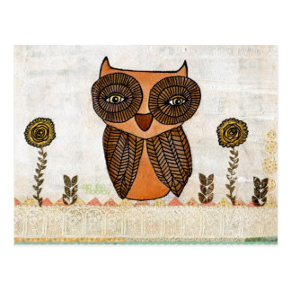 Brown Owl Lace and Flowers Mixed Media Art Post Card