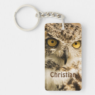 Brown owl looking at you add name Double-Sided rectangular acrylic key ring