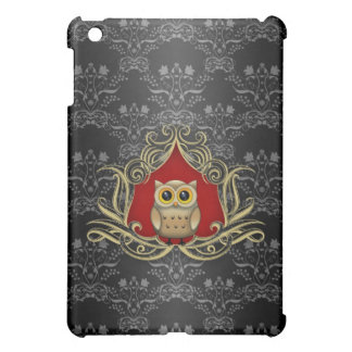 Brown Owl on Gothic Black and Red Damask Case For The iPad Mini