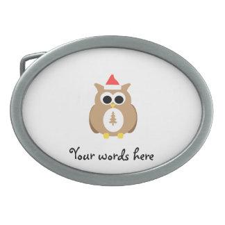 Brown owl santa belt buckle