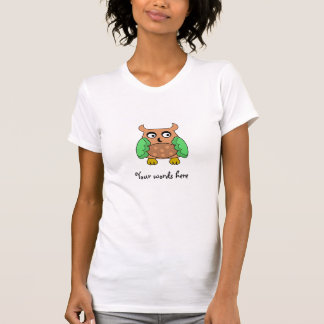 Brown owl with brown polka dots t-shirts
