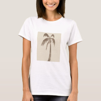 Brown Palm Tree on Beige T-Shirt