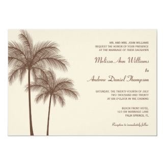 Brown Palm Tree Tropical Wedding Invitations