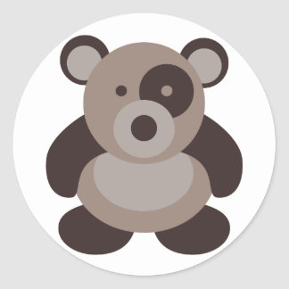 Brown Panda Bear Round Sticker