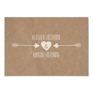 Brown Paper Inspired White Arrows Wedding R.S.V.P. 9 Cm X 13 Cm Invitation Card