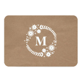Brown Paper Inspired White Wreath Monogram RSVP Card