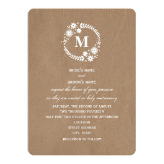 Brown Paper Inspired White Wreath Monogram Wedding Card
