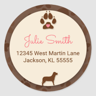 Brown Paw Print with Pink for Dog Lover's Address Round Sticker