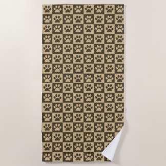 Brown Paw Prints Beach Towel