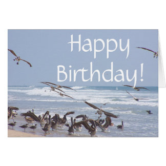 Brown Pelican Birds Wildlife Animal Beach Birthday Card
