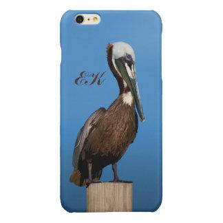 Brown Pelican Perching on a Post, Monogram
