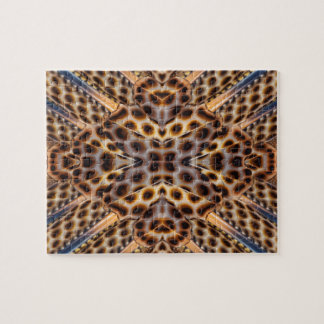 Brown pheasant feather kaleidoscope jigsaw puzzle
