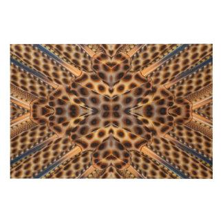 Brown pheasant feather kaleidoscope wood wall art