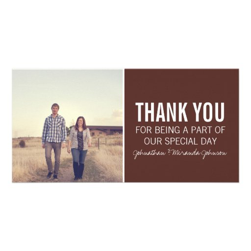Brown Photo Thank You Cards Customized Photo Card