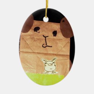 Brown piggy face ceramic ornament