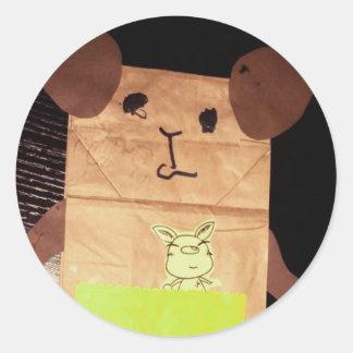 Brown piggy face classic round sticker