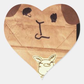 Brown piggy face heart sticker