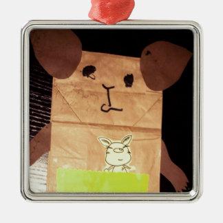 Brown piggy face metal ornament