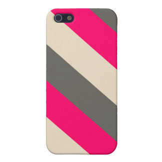 Brown, Pink and Cream Striped Case For iPhone 5/5S