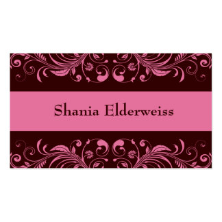 Brown & Pink Damask Business Card