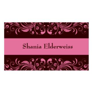 Brown & Pink Damask Business Card