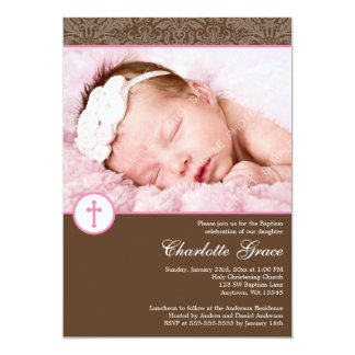 Brown Pink Damask Cross Girl Photo Baptism 13 Cm X 18 Cm Invitation Card