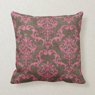 Brown & Pink Damask Decorative Throw Pillow