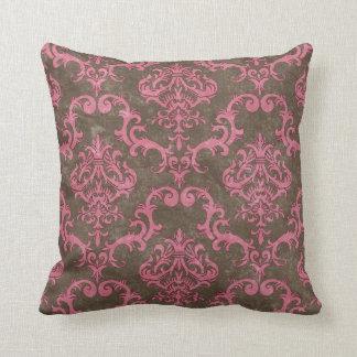 Brown & Pink Damask Decorative Throw Pillow