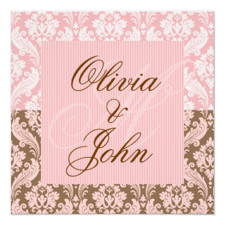 Brown & PINK DAMASK Elegant Wedding Invitation