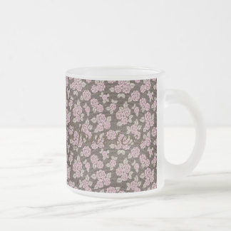 Brown,pink,floral,pattern,modern,cute,girly,trendy Frosted Glass Mug