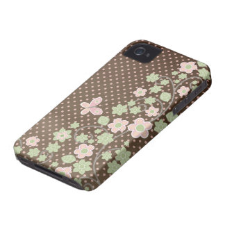 Brown pink floral pattern stylish iphone 4 case