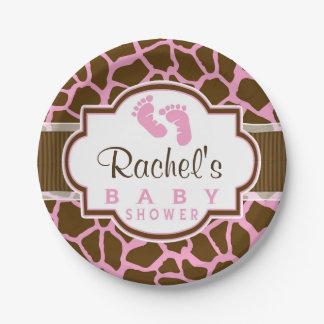 Brown, Pink Giraffe Animal Print Baby Shower Paper Plate