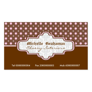 Brown pink polka dot interiors business cards business cards