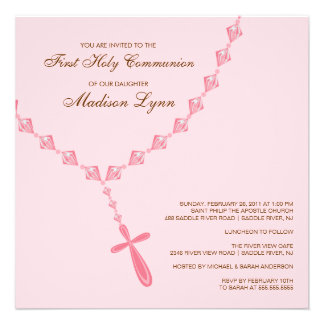 Brown Pink Rosary First Holy Communion Invitation