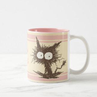 Brown Pink Unkempt Kitten GabiGabi Two-Tone Coffee Mug