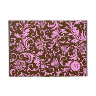 Brown & Pink Vintage Floral Damasks-Monogram iPad Mini Cover