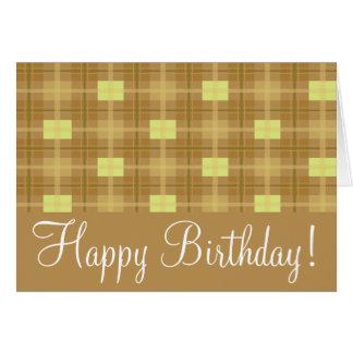 "Brown Plaid  ""Birthday Card"" Greeting Card"
