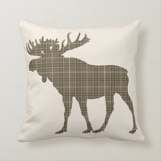 Brown plaid cottage  Moose rustic pillow