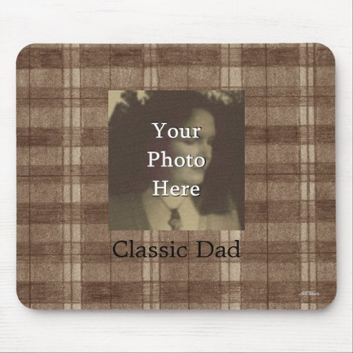 Brown Plaid Photo Customizable Fathers Day Mousepad