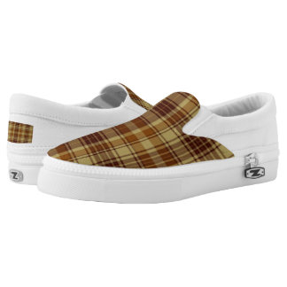 Brown Plaid Slip On Sneakers