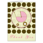 Brown Polka Dot / Pink Baby Carriage Thank You