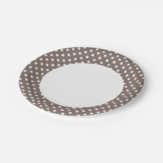 Brown Polka Dots 7 Inch Paper Plate