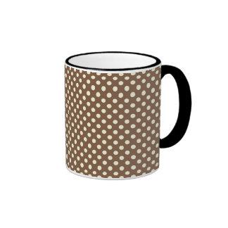 Brown polka dots ringer mug