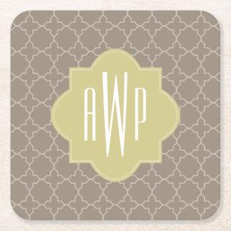 Brown Quatrefoil Monogram Square Paper Coaster