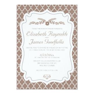 Brown Quatrefoil Wedding Invitations