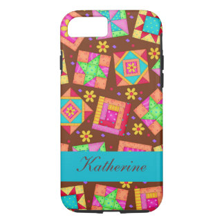 Brown Quilt Art Patchwork Blocks Name Personalised iPhone 7 Case