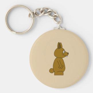 Brown Rabbit Basic Round Button Key Ring