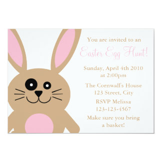 "Brown Rabbit Easter Egg Hunt Invitations 5"" X 7"" Invitation Card"
