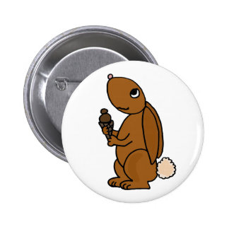Brown Rabbit Eating Chocolate Ice Cream Pin