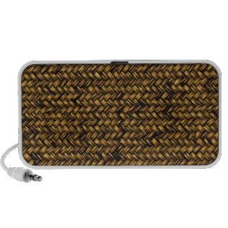 Brown Rattan Weave Pattern Doodle Speakers